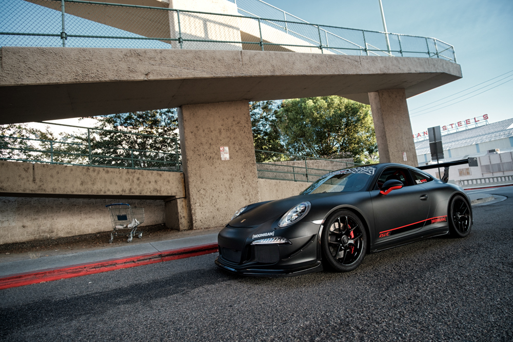 RaceWerkz Engineering's modified Porsche 991 GT3 will be representing Hoonigan at the Speed Ring event at Auto Club Speedway in Fontana, CA, on Sunday Aug. 21 2016.